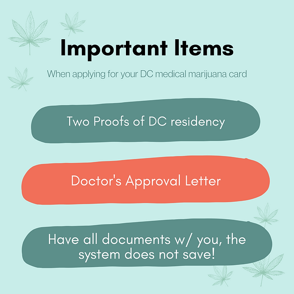 Important items when applying for your medical marijuana card in DC