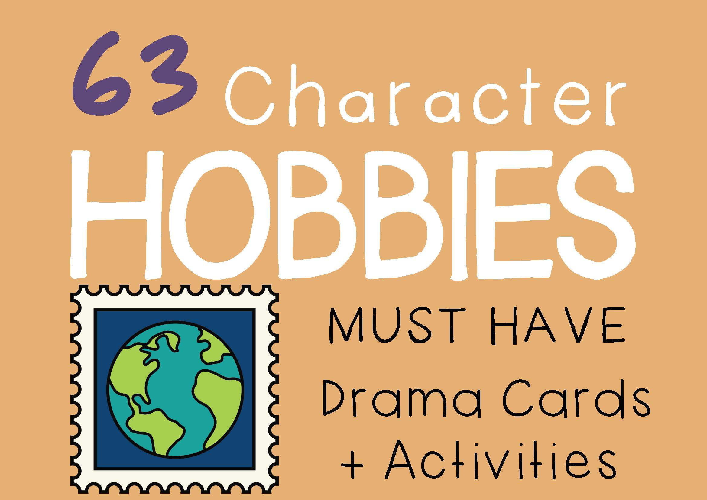 CHARACTER HOBBIES Drama Cards and Drama Activities by DRAMA TRUNK