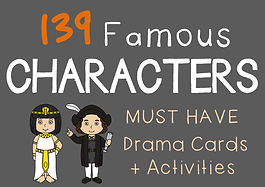 Social studies / drama lesson resource : Famous Character Cards + suggested drama activities