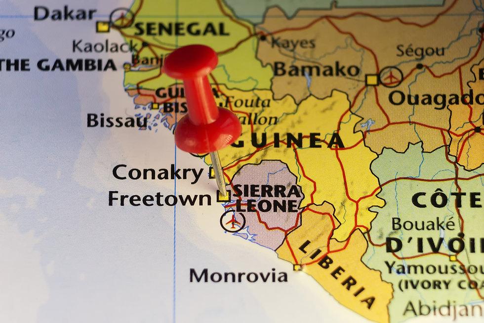 Pinned map Freetown, Sierra Leone. Copy