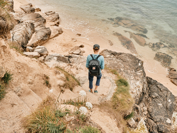 David unterwegs zum Strand