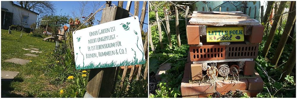 Insektenhotel, Lebensraum, Garten, Wildblumenwiese, Bienen, Hummeln, Schild, Little Folk, Hotel