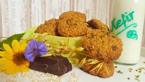 Handliches Müsli und Zwangsruhe und Danke - oder: Kefir-Hafer-Schoko-Cookies mit Pistazien 🌾🥛🍫