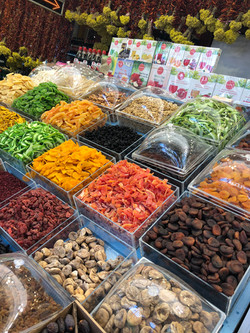 Array of dried fruit stall at Kalkan, Turkey food market