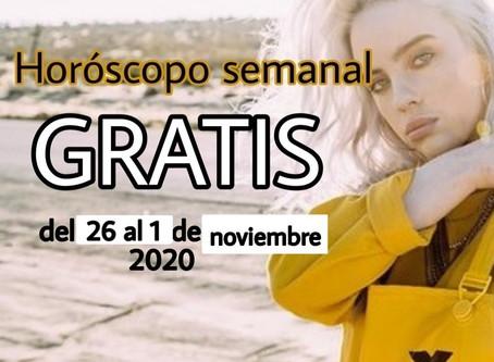 NUMERO, FRASE de la semana y HOROSCOPO del 26 al 1 de noviembre 2020