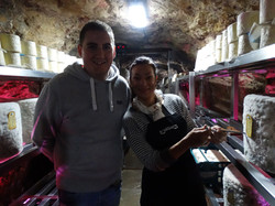 Tanys & Jonathan grading Wookey Hole Cheddar in the caves.