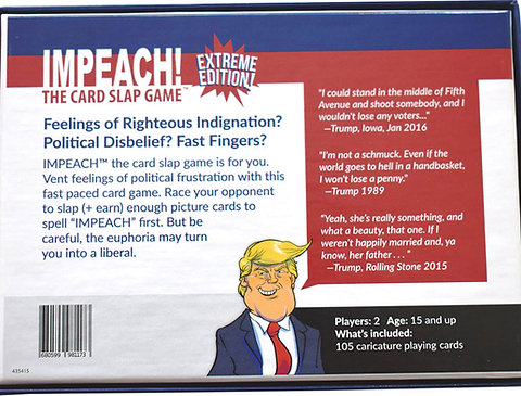 IMPEACH! The Card Slap Game, Case of 24 Individual Games,($240/Case /  $10/Game)   Trump