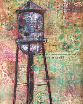Water Tower, mixed media collage