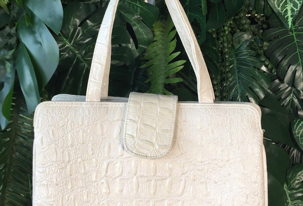 Cream snakeskin effect handbag