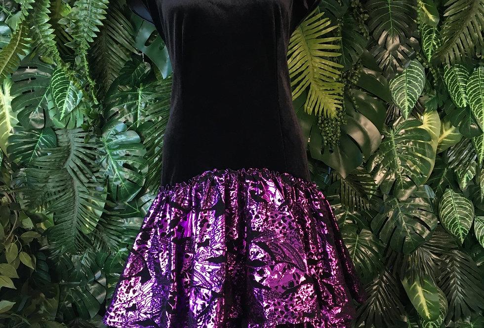Velour prom redress with metallic ruffle (size 36)
