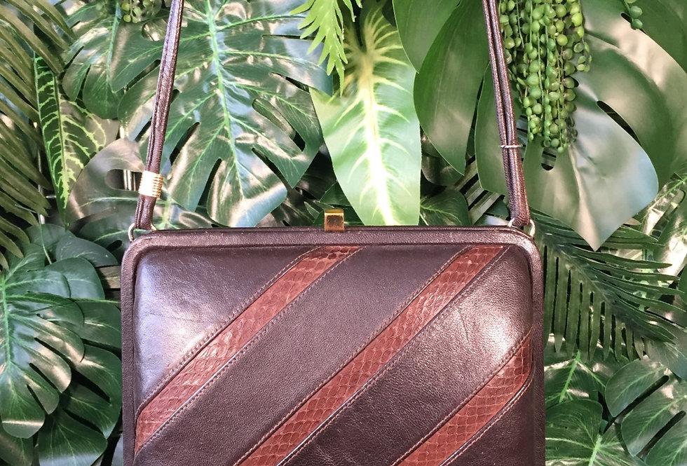 Graphic leather handbag