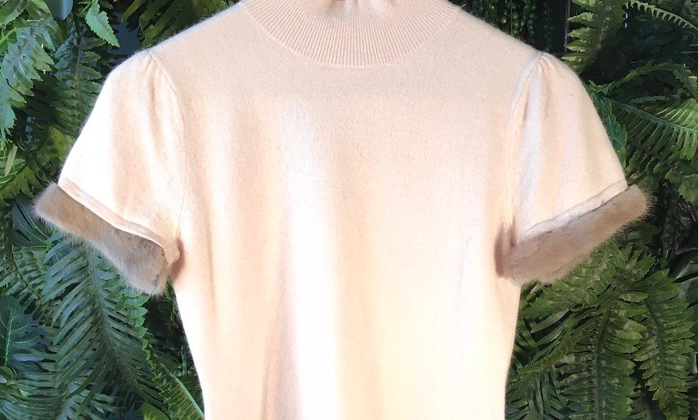 Cap Sleeve Knit With Faux Fur Trim