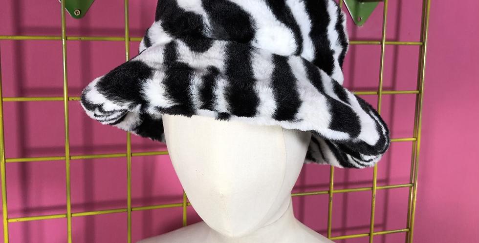 Zebra print faux fur hat