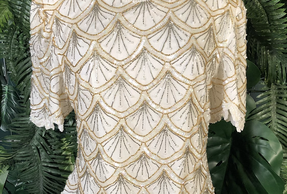 Cream & gold shell top