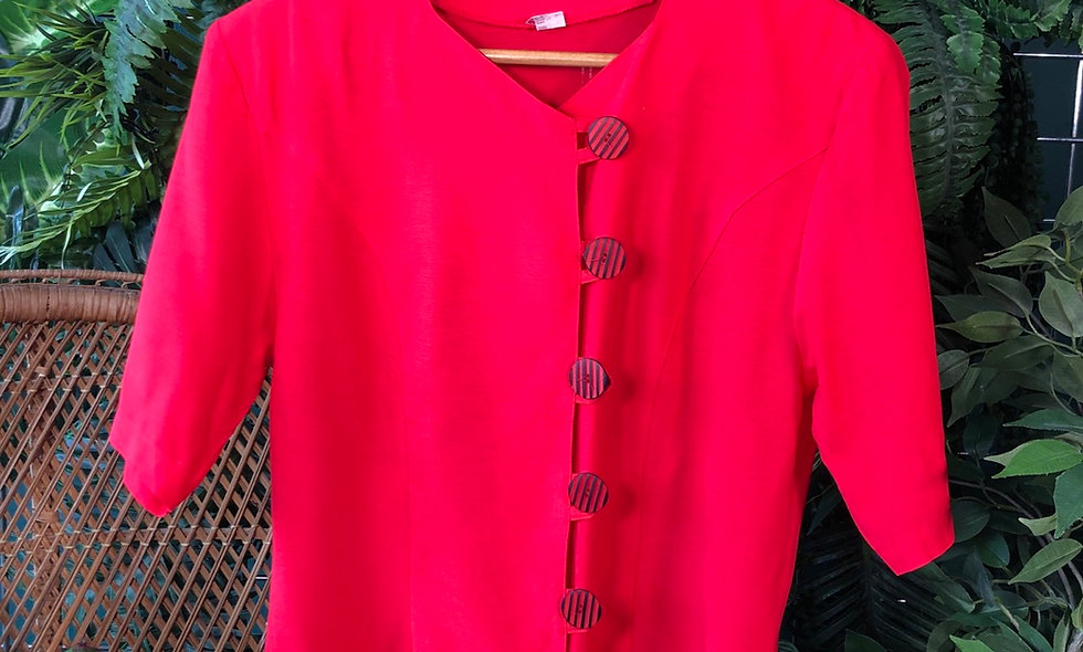 Red 90s button blouse