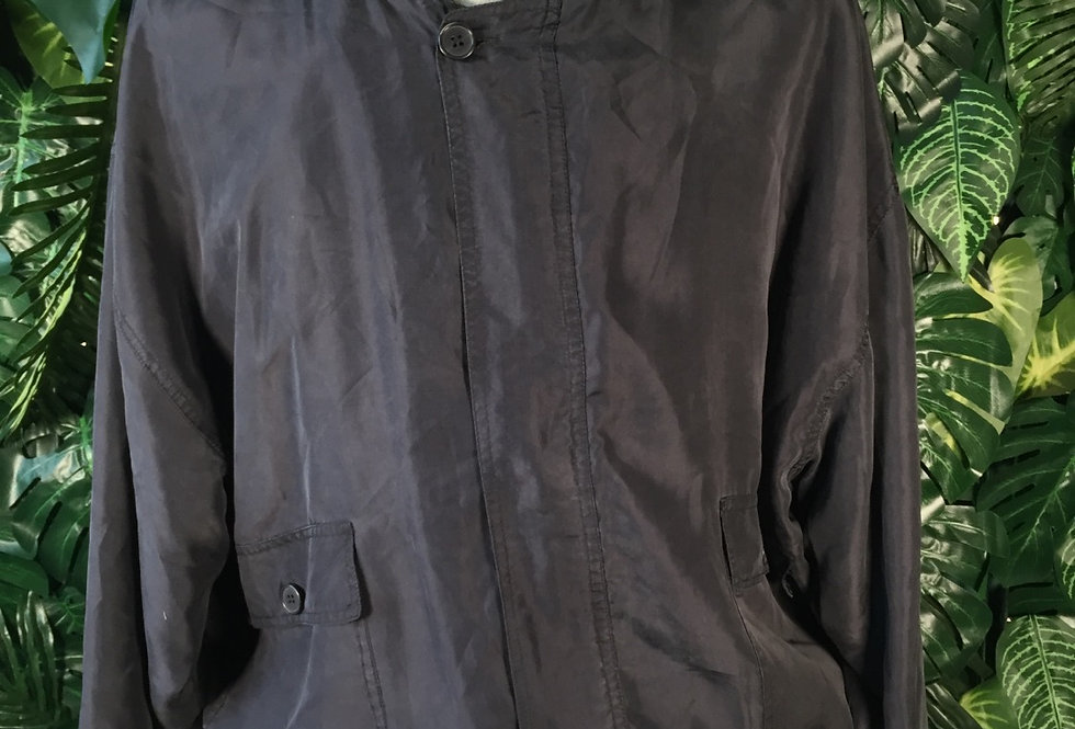 Pure silk black bomber (XL)