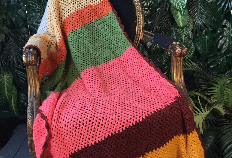 Long hand crocheted blanket