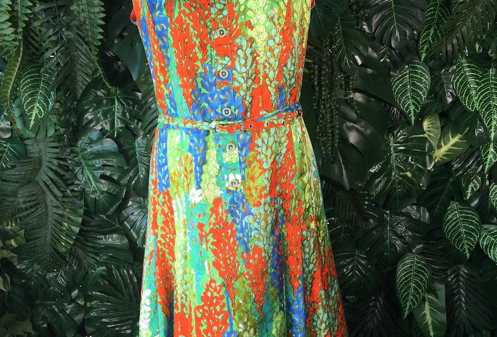 Vinatge belted Qiana dress (size 14)