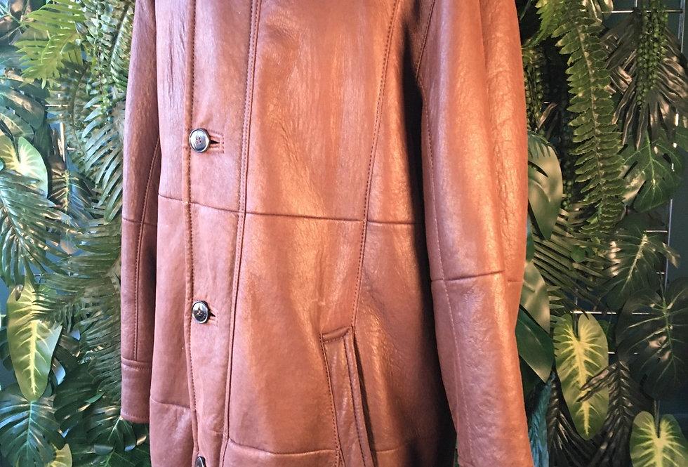 Original Christ  Soft Leather Funnel Neck Coat (L)