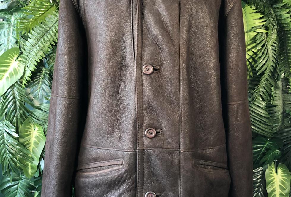 Zip & button down suede coat
