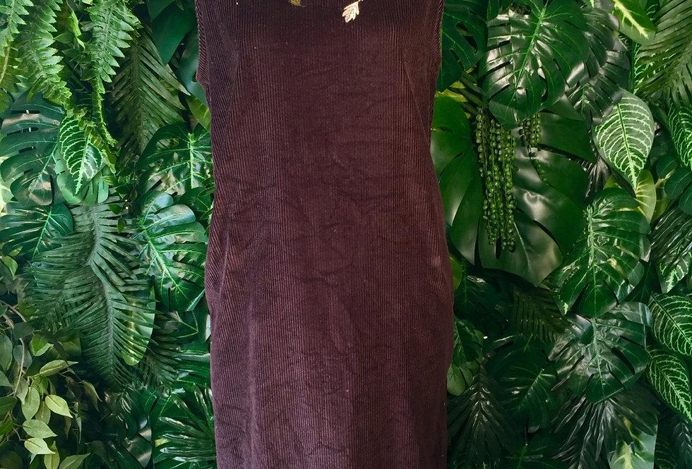 Mandalas Bay leaf detail corduroy dress (size 20)