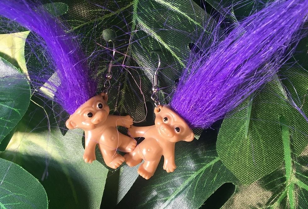 Troll doll earrings (5 colours)