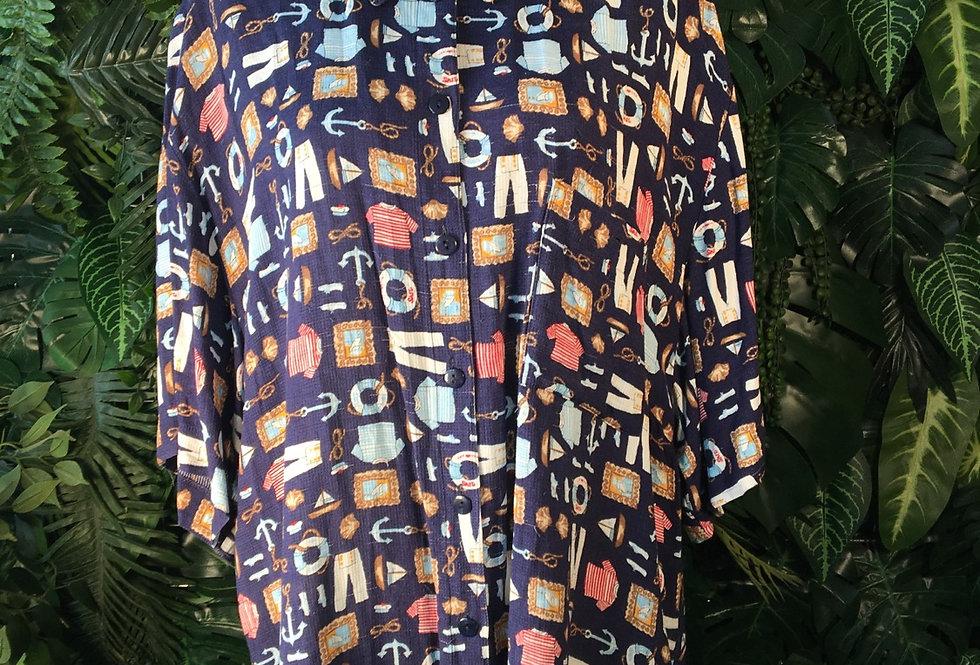 Nautical pattern blouse (size 18)