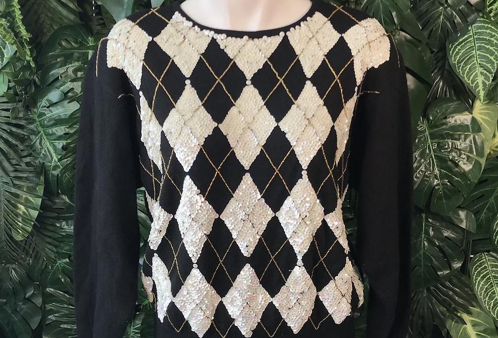 1990s harlequin sequin knit (m)