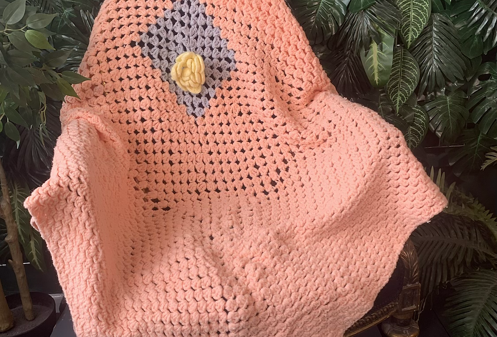 Handmade peach blanket with yellow rose