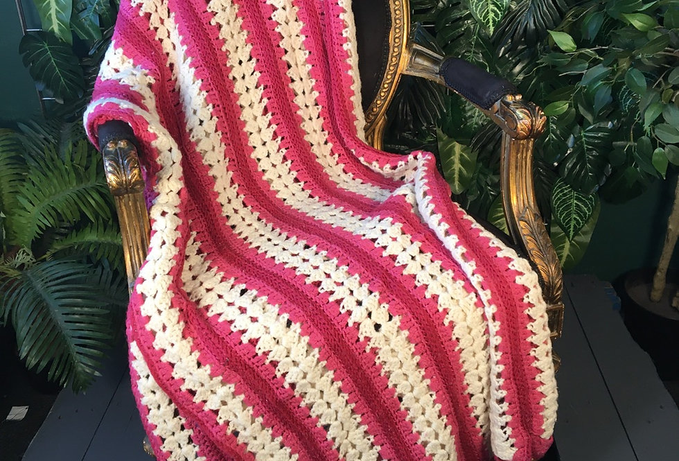 Handmade pink and white strip blanket