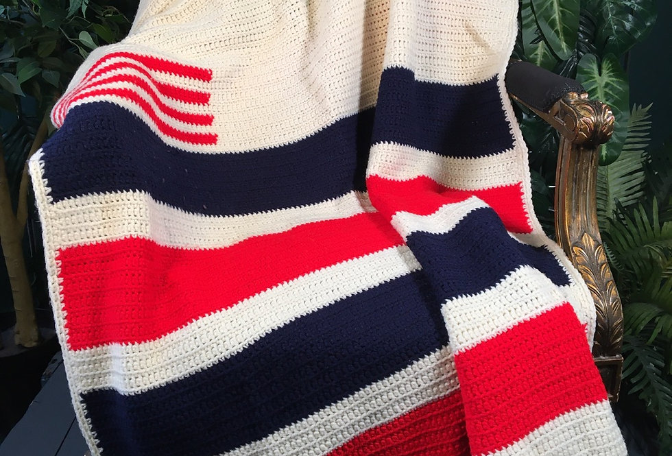 Hand knit Stars and Stripes blanket