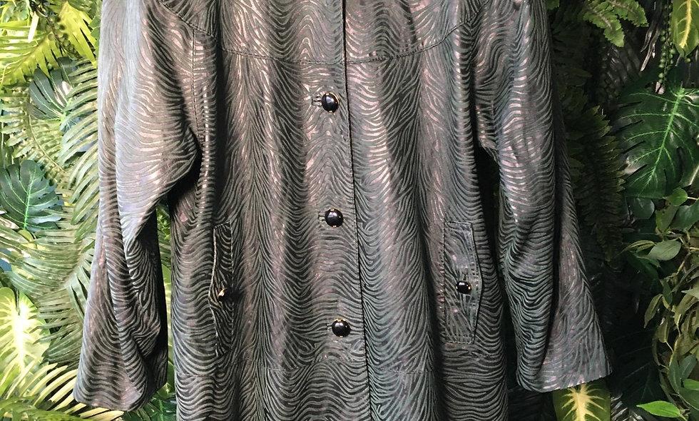 80s Flocked Leather Coat