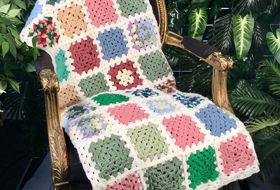 1980s Hand Knit Blanket