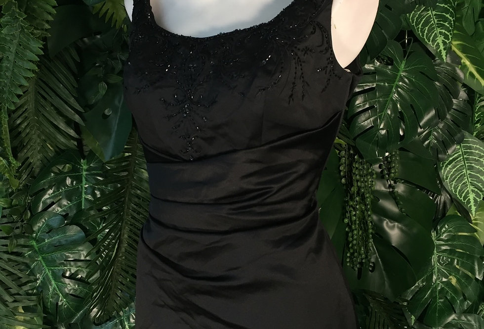 Beaded satin evening gown (size 14)