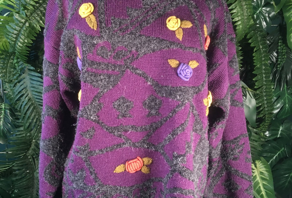 Floral Knit Sweater (S)