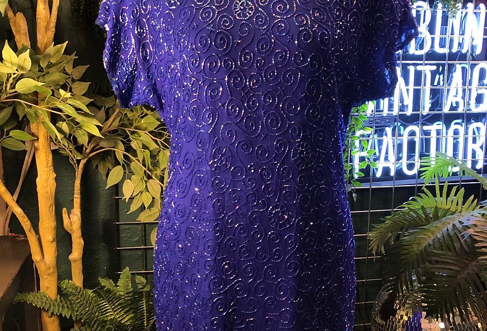 1980s blue sequin cocktail dress