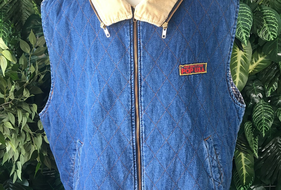 Pop Usa quilted denim gilet with cord collar (XL)