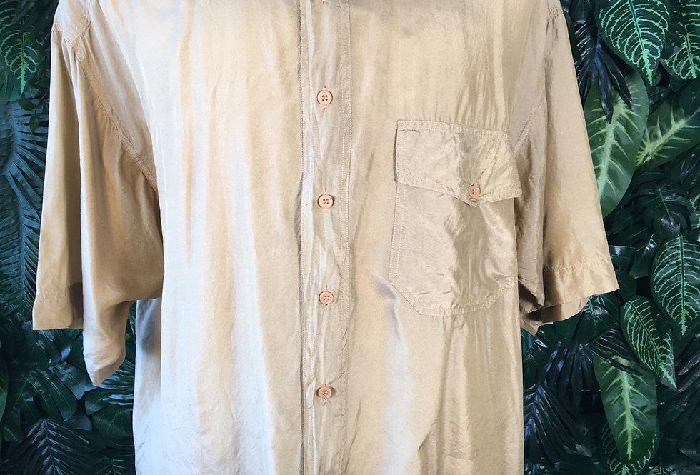 Gold silk shirt (L)