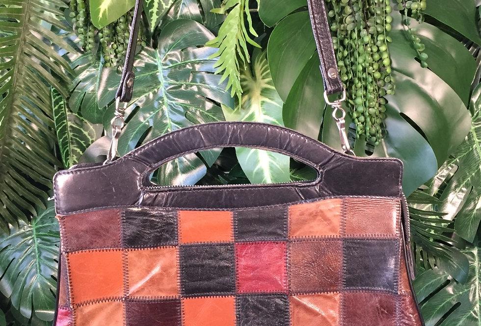 Patchwork leather handbag with detachable strap