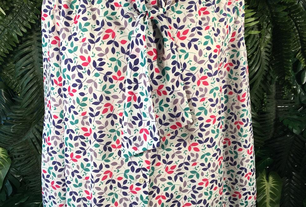 Floral Wrap Collar Blouse (10-12)