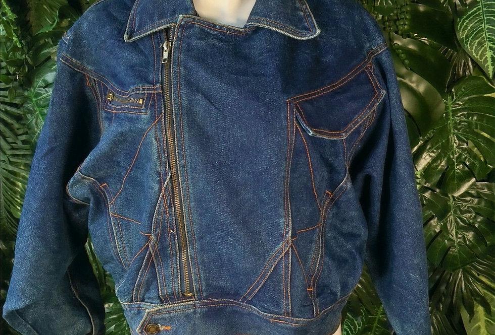 Geometric panel denim biker jacket (S)