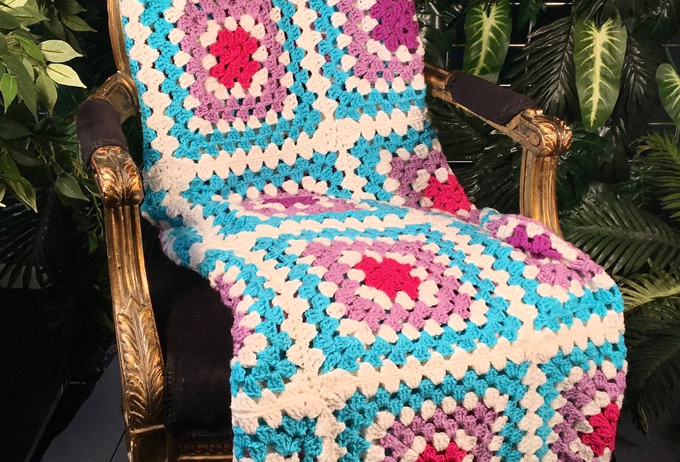1980s Hand Crocheted Blanket