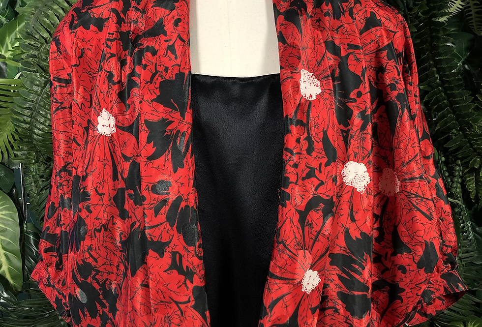 Red floral 80s blouse