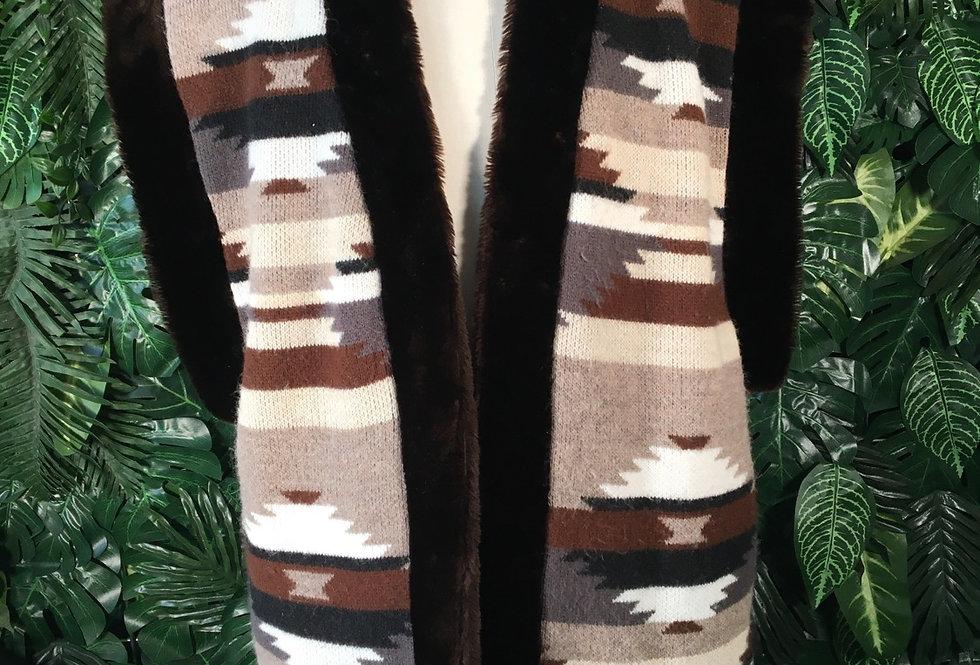 Aztec faux fur trim gilet (XL)
