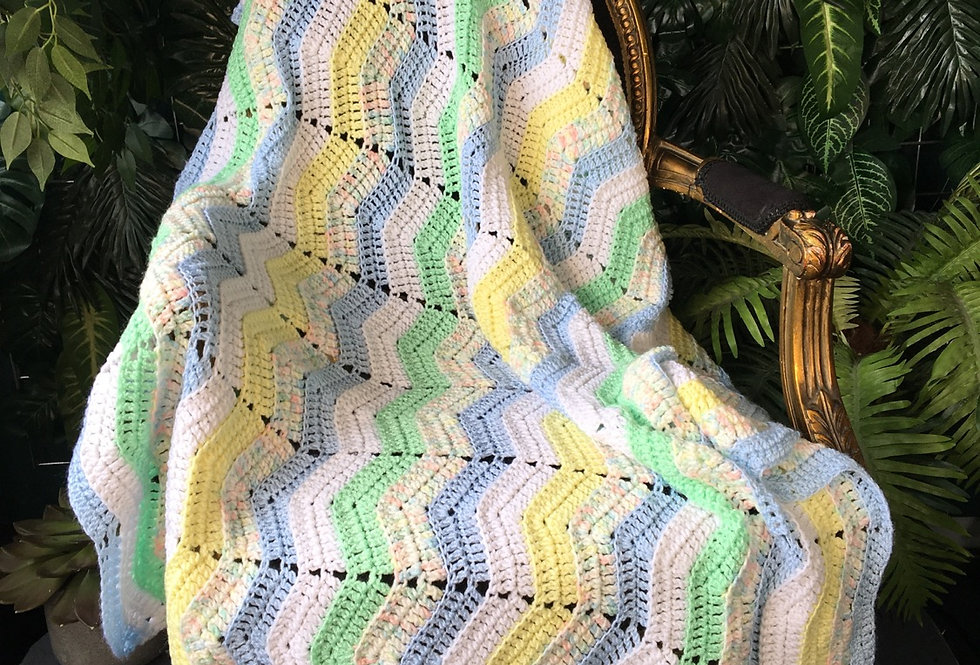 Handmade pastel chevron blanket