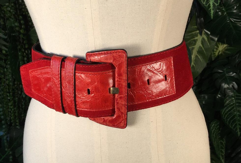 Red suede belt