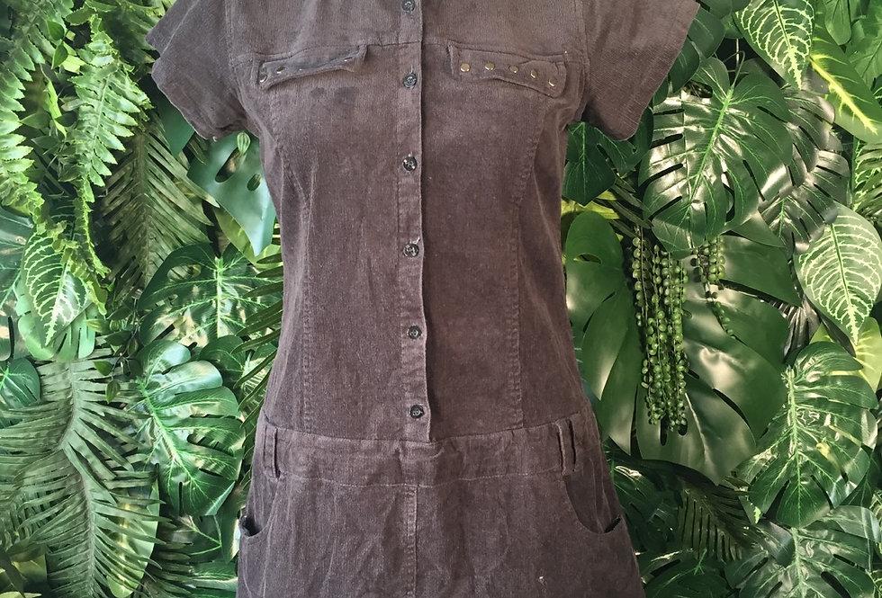 Black corduroy mini dress (size 12)