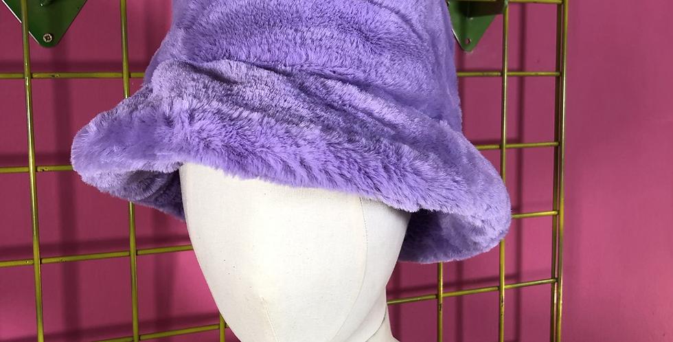 Lilac sky faux fur hat
