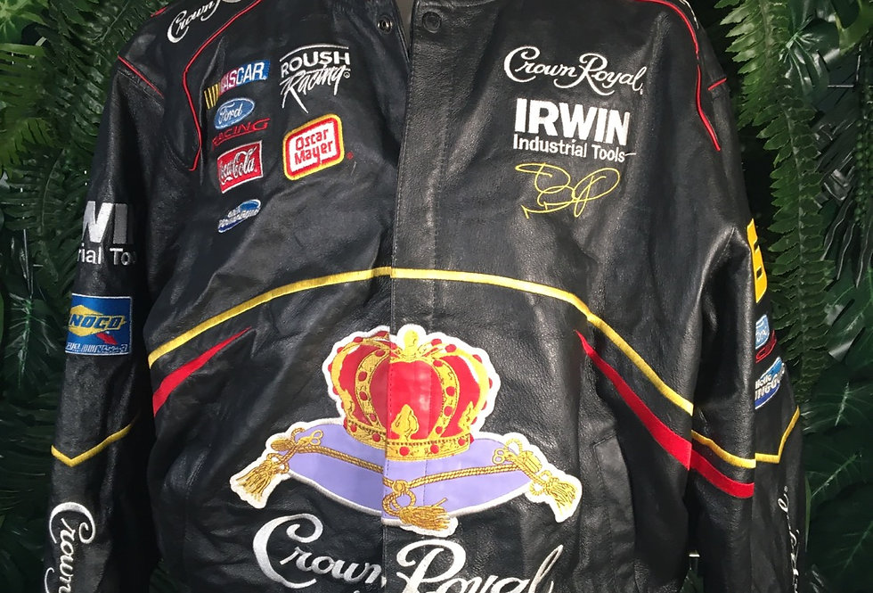 Rare Official NASCAR Crown Royal Embroidered Leather Jacket (L))