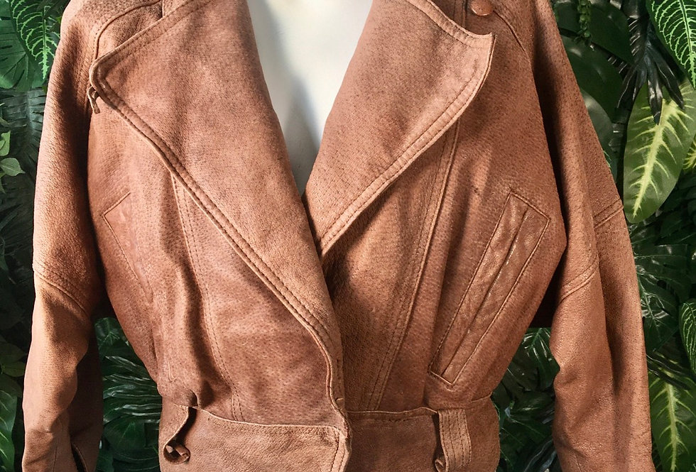 Adventure Bound cinched insulated leather jacke
